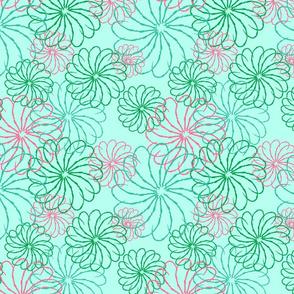 Aqua stenciled floral