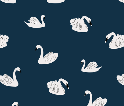 Swans fabric by melarmstrongdesign on Spoonflower - custom fabric