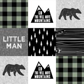 Little Man & You Will Move Mountains  - sage buffalo plaid - bear