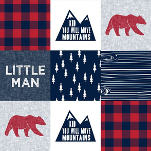 Little Man & You Will Move Mountains Quilt Top -red and navy -  buffalo plaid (bear)