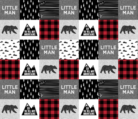 Little Man & You Will Move Mountains Quilt Top - buffalo plaid (bear) fabric by littlearrowdesign on Spoonflower - custom fabric