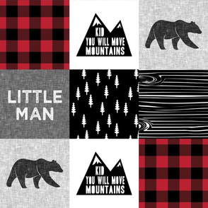 Little Man & You Will Move Mountains Quilt Top - buffalo plaid (bear)