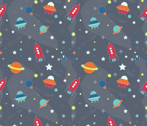 Space kids fabric meredith watson spoonflower for Kids space fabric