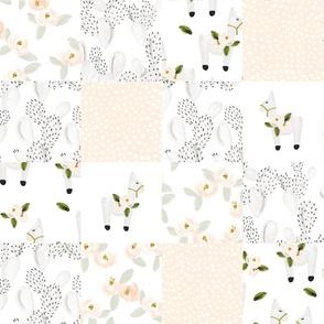 """6"""" squares // floral llamas patchwork wholecloth"""