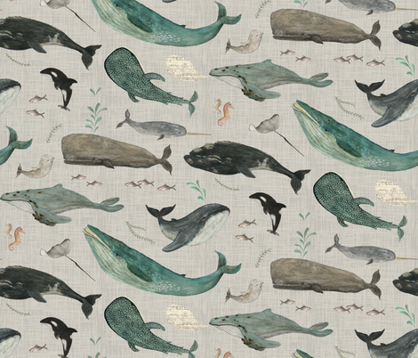whale's song gray {large} fabric by katherine_quinn on Spoonflower - custom fabric