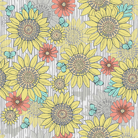 Sunflowers, Farmhouse colors fabric by palifino on Spoonflower - custom fabric