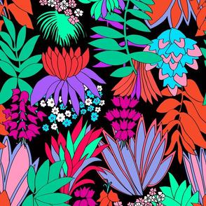 Tropical Psychedelic Floral Garden in Black
