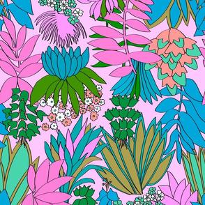 Tropical Psychedelic Floral Garden in Preppy Pink
