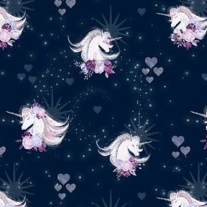 Unicorn heart galaxy, navy and star, whimsical sky