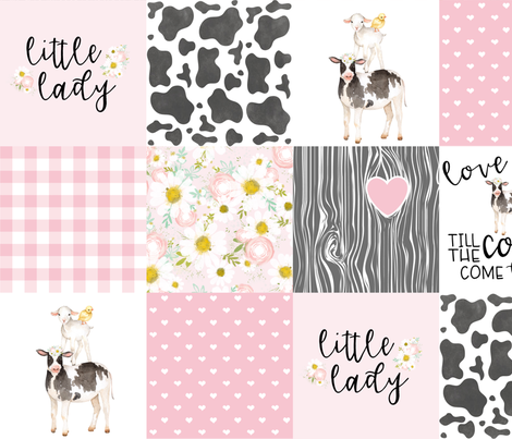 Little Lady//Love you till the cows come home - Wholecloth Cheater Quilt fabric by longdogcustomdesigns on Spoonflower - custom fabric