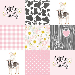 Little Lady//Love you till the cows come home - Wholecloth Cheater Quilt