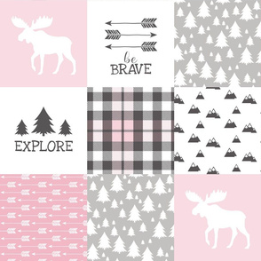 Woodland//Have Courage - Wholecloth Cheater Quilt - Pink
