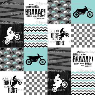 Motocross//A little dirt never hurt - wholecloth Cheater Quilt - Aqua