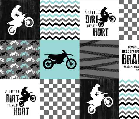 Motocross//A little dirt never hurt - wholecloth Cheater Quilt - Aqua fabric by longdogcustomdesigns on Spoonflower - custom fabric