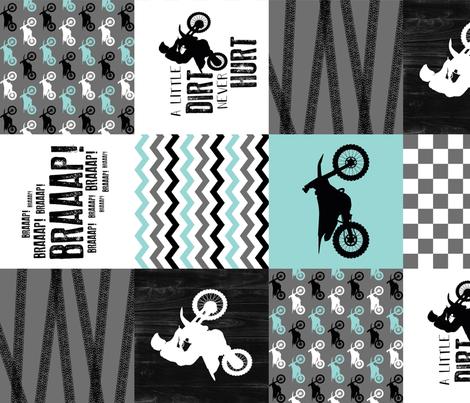 Motocross//A little dirt never hurt - Wholecloth Cheater Quilt - Aqua - Rotated fabric by longdogcustomdesigns on Spoonflower - custom fabric