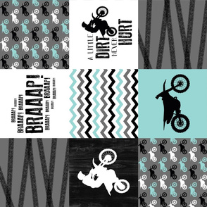 Motocross//A little dirt never hurt - Wholecloth Cheater Quilt - Aqua - Rotated
