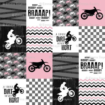 Motocross//A little dirt never hurt - Pink - Wholecloth Cheater Quilt
