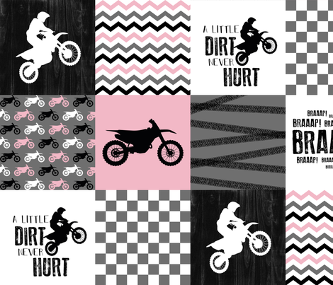 Motocross//A little dirt never hurt - Pink - Wholecloth Cheater Quilt fabric by longdogcustomdesigns on Spoonflower - custom fabric