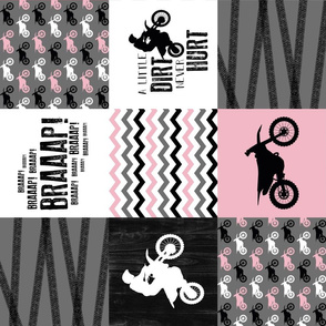 Motocross//A little dirt never hurt - Pink - wholecloth cheater quilt - rotated
