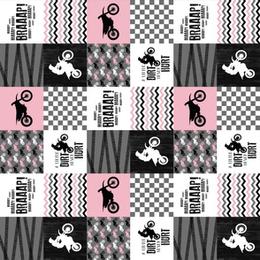 3 inch Motocross//A little dirt never hurt -Pink - Wholecloth Cheater quilt - rotated