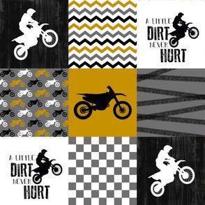 Motocross//A little dirt never hurt - Wholecloth Cheater quilt - Mustard