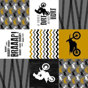 Motocross//A little dirt never hurt - wholecloth Cheater quilt - Mustard - rotated