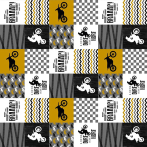 3 inch Motocross//A little dirt never hurt - mustard - Wholecloth Cheater quilt - rotated