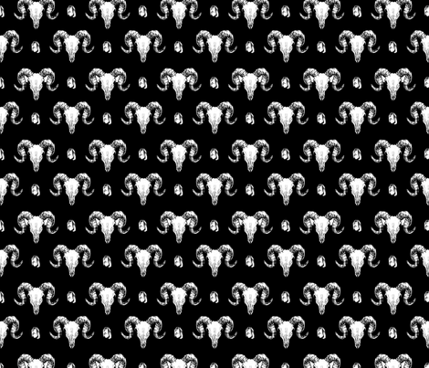 Animal Skulls and Crystals - Black fabric by colourcult on Spoonflower - custom fabric