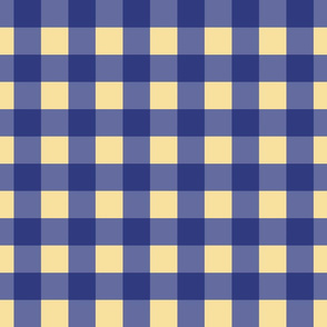 Prussian Blue + buttery-cream gingham by Su_G
