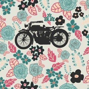 Vintage Motorcycle on Cabaret & Shadow Green Floral // Large