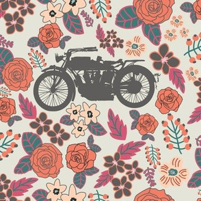 Vintage Motorcycle on Burnt Sienna & Cabaret Floral // Large