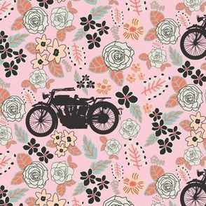Vintage Motorcycle on Alabaster & Blush Floral // Small