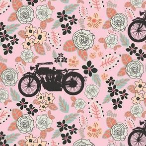 Vintage Motorcycle on Alabaster & Blush Floral // Small