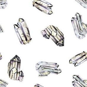 Watercolor Crystals - White