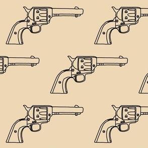 Revolver Sketch on Tan // Large