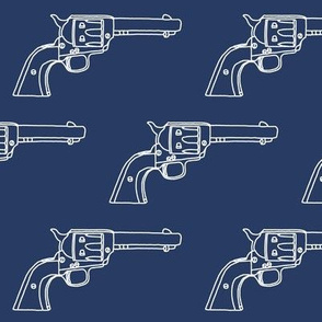 Revolver Sketch on Navy Blue // Large