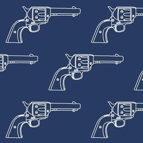 Revolver Sketch on Navy Blue // Large