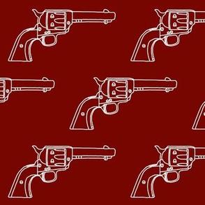 Revolver Sketch on Maroon // Large