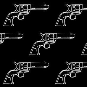 Revolver Sketch on Black // Large