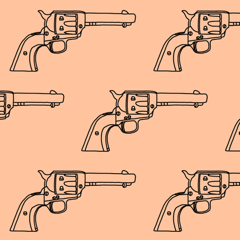 Revolver Sketch on Light Apricot // Large fabric by thinlinetextiles on Spoonflower - custom fabric
