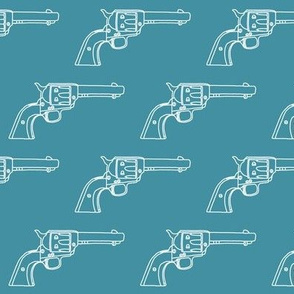 Revolver Sketch on Teal // Small