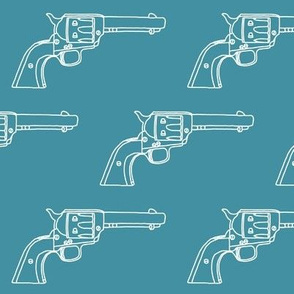 Revolver Sketch on Teal // Large