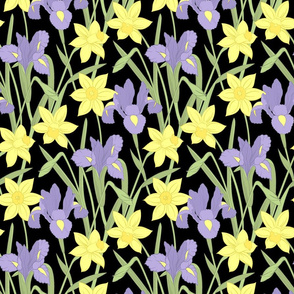 Iris and daffodils at night