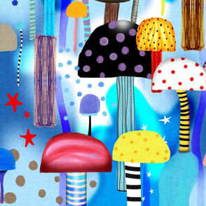 Mushrooms fabric - Blue Gradient
