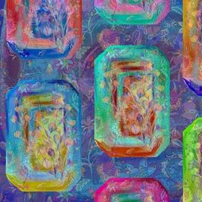 JEWELS RECTANGLES FLOWERY GARDEN PAVEMENT BLUE