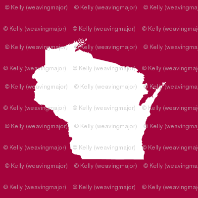 "itty bitty Wisconsin silhouette - 1"" white on cranberry"