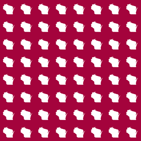 "itty bitty Wisconsin silhouette - 1"" white on cranberry fabric by weavingmajor on Spoonflower - custom fabric"