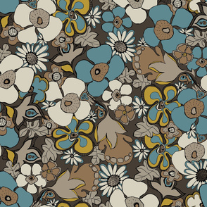 Floral Doodles in blue beige mustard