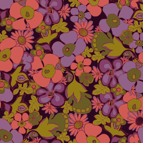 Floral Doodles in purple coral olive