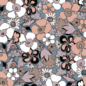Floral Doodles in mauve taupe blush slate